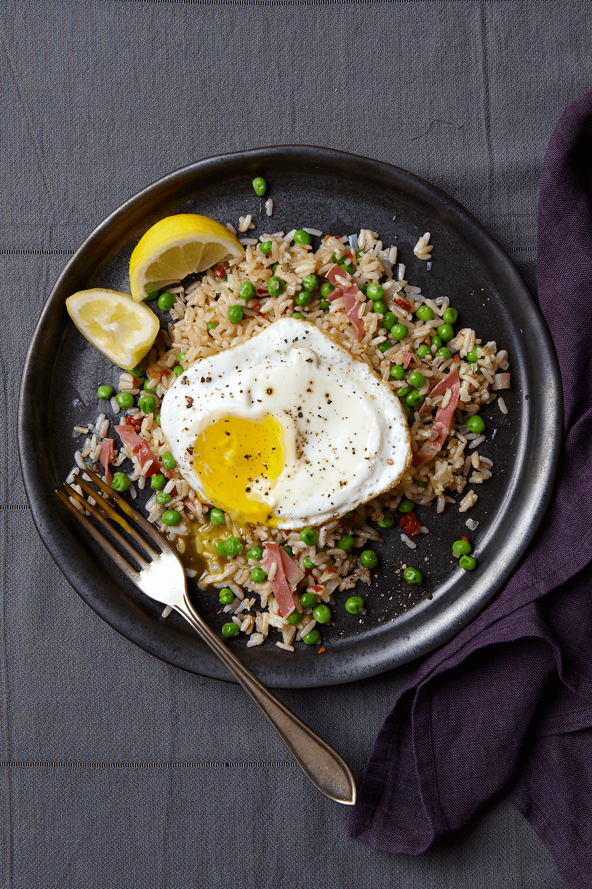 Italian Fried Brown Rice with Peas and Prosciutto