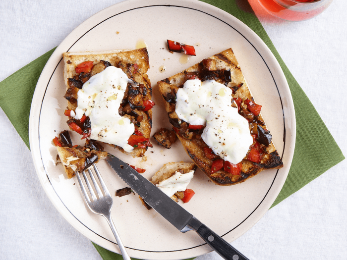Open-Face Sandwich with Mozzarella, Charred Peppers, and Eggplant