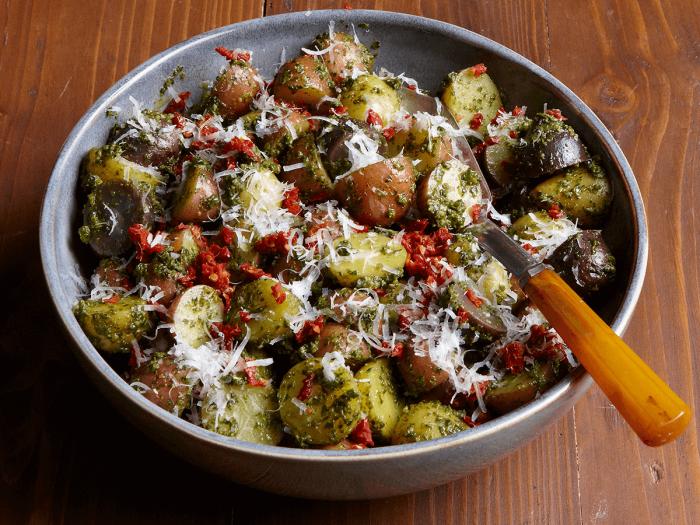 Potato Salad with Basil Pesto and Sun-Dried Tomatoes