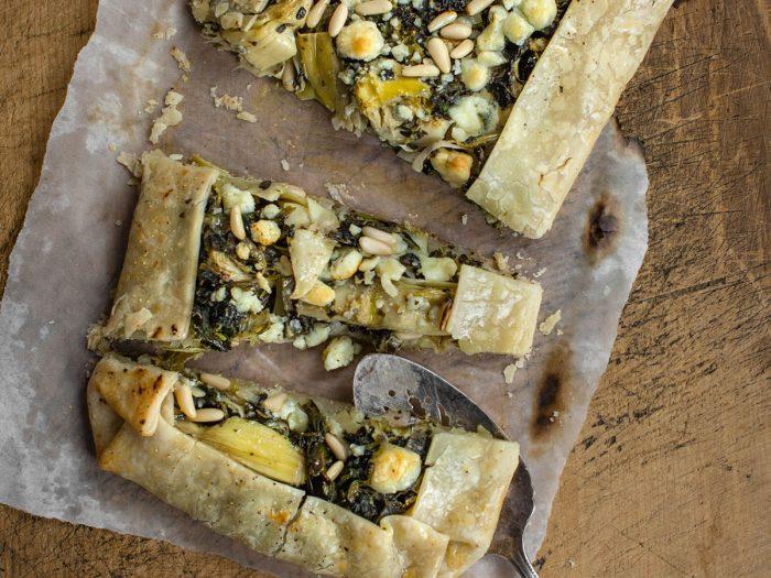 Artichoke and Spinach Crostata with Polenta Crust