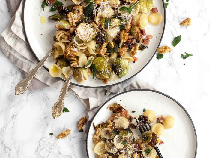 Orecchiette with Brussels Sprouts, Pancetta and Walnuts