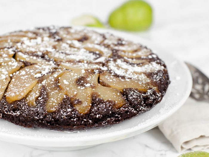 Upside Down Chocolate Pear Olive Oil Cake