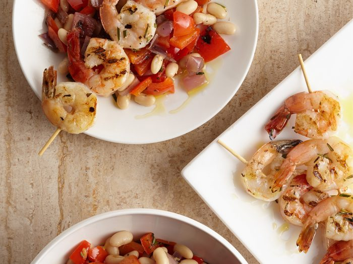 Grilled Rosemary Shrimp Skewers with Grilled Vegetables and White Beans