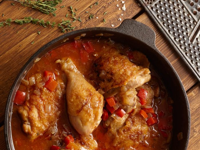 Wine-Braised Chicken with Peppers and Herbs