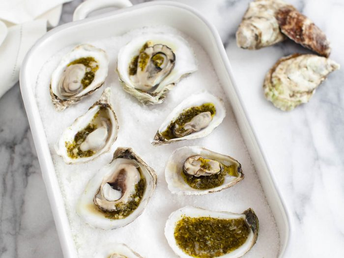 Grilled Oysters with Pesto Mingonette