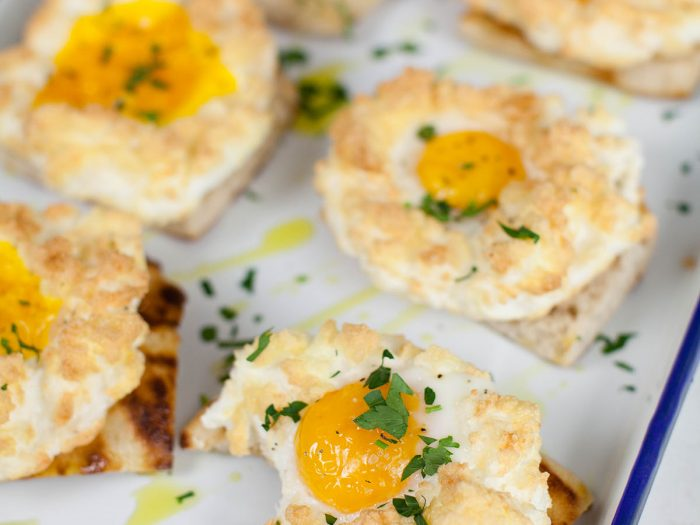 Cloud Eggs with Pecorino and Parsley
