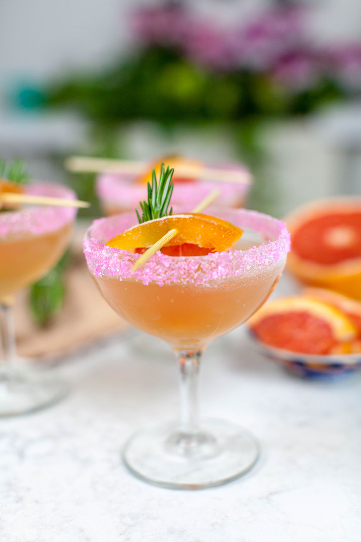 Pink Grapefruit Mimosa with Rosemary Syrup