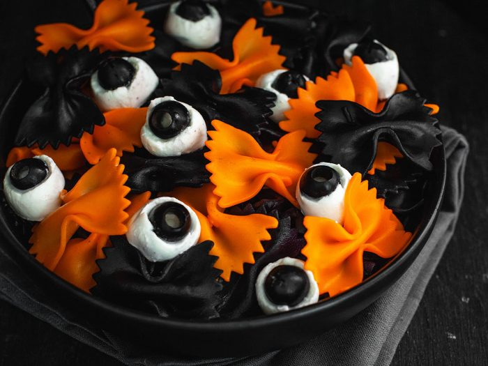 "Halloween ""Bat and Eyeball"" Pasta"