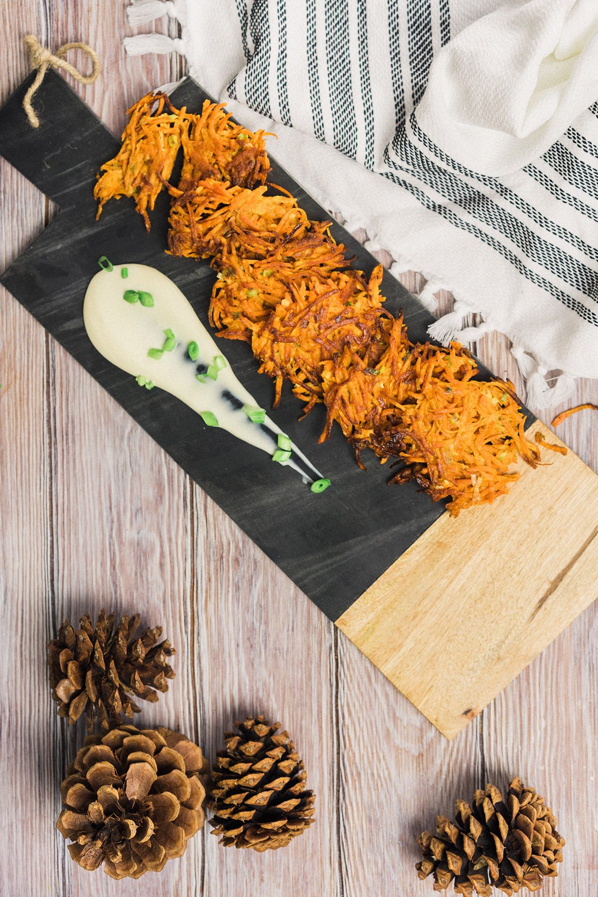 Sweet Potato Latkes with Maple Creme Fraiche