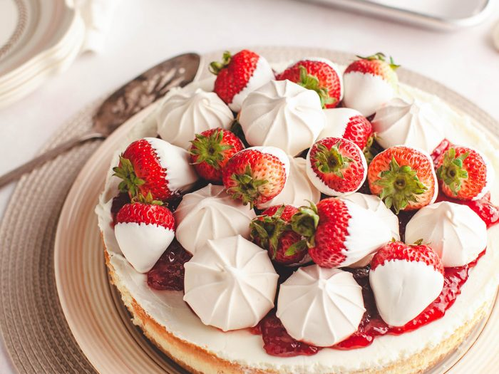 Strawberry Cheesecake with Olive Oil Crust