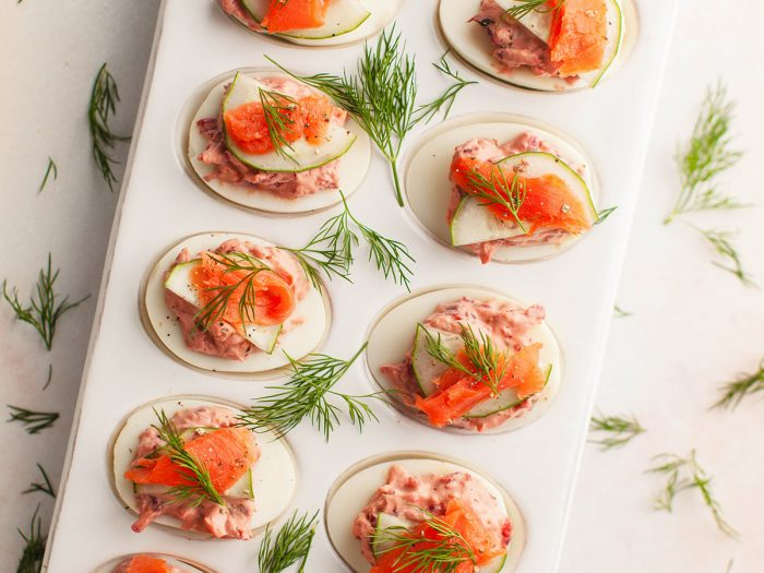 Deviled Eggs with Beets and Smoked Salmon