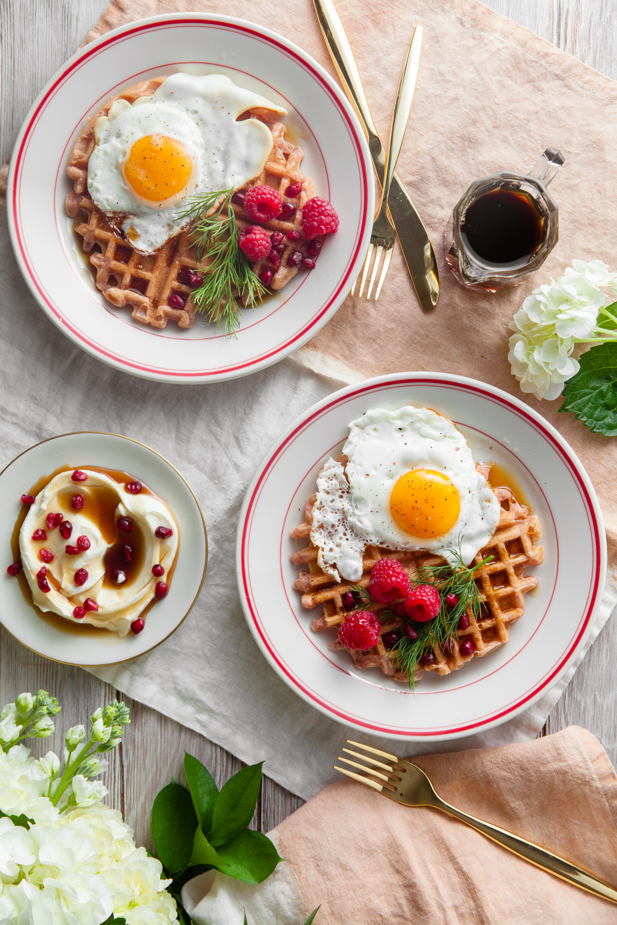 Beet Waffles with Maple Creme Fraiche and Sunny Side Up Eggs