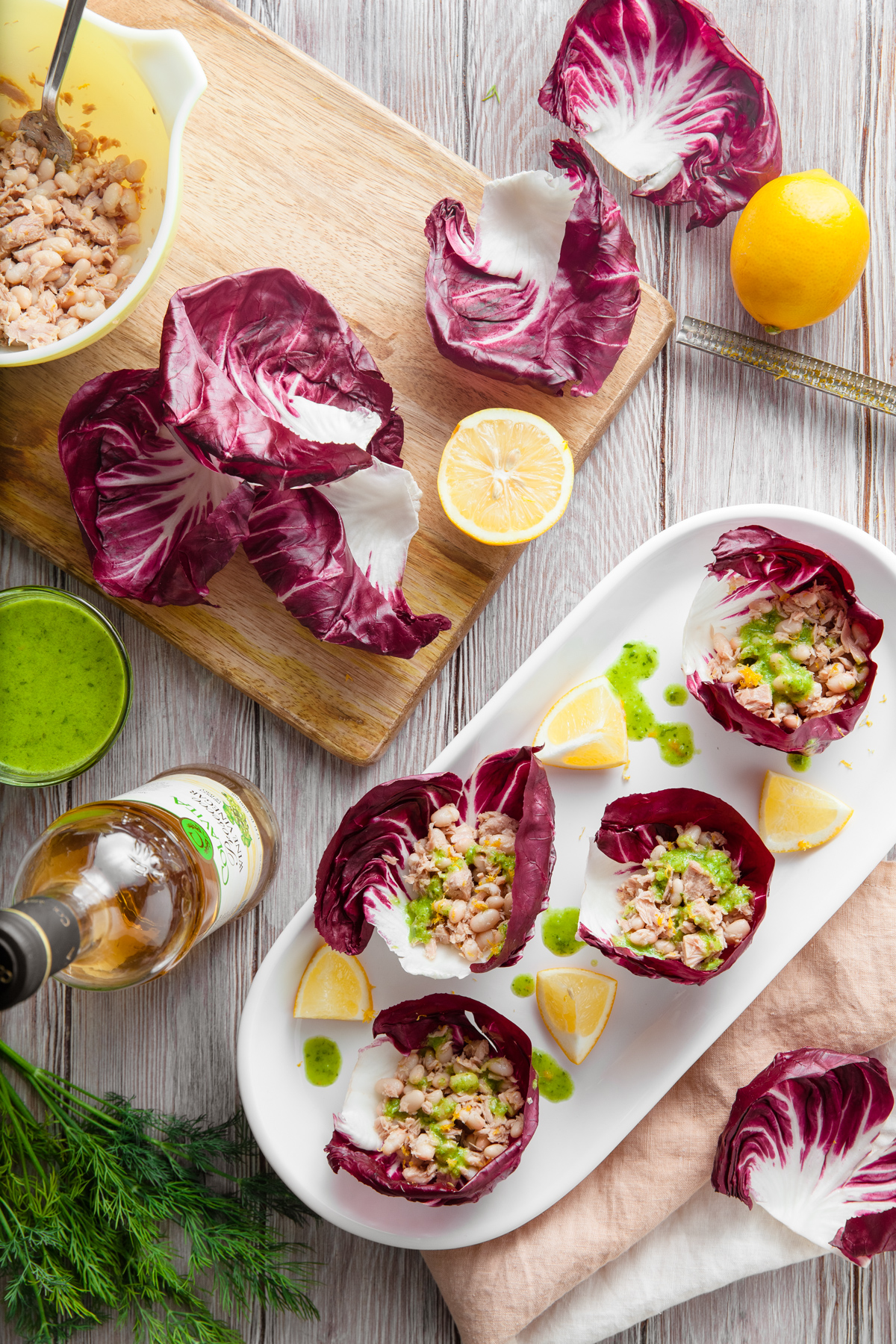 Tuna and White Bean Radicchio Lettuce Wraps