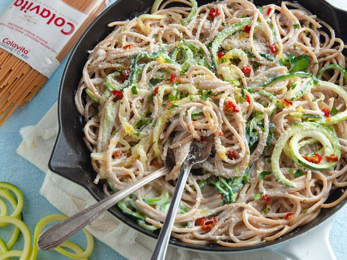 Whole Wheat Spaghetti with Yogurt Cream Sauce