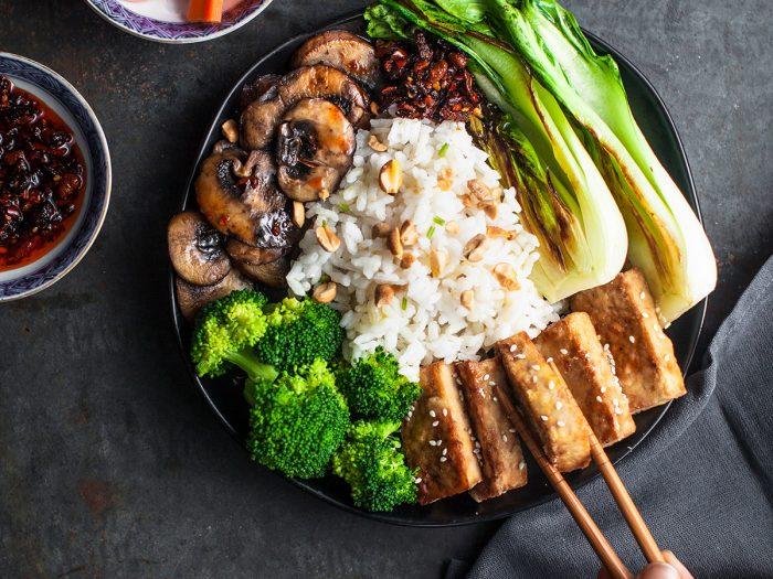 Korean Risotto Bowl with Crispy Tofu