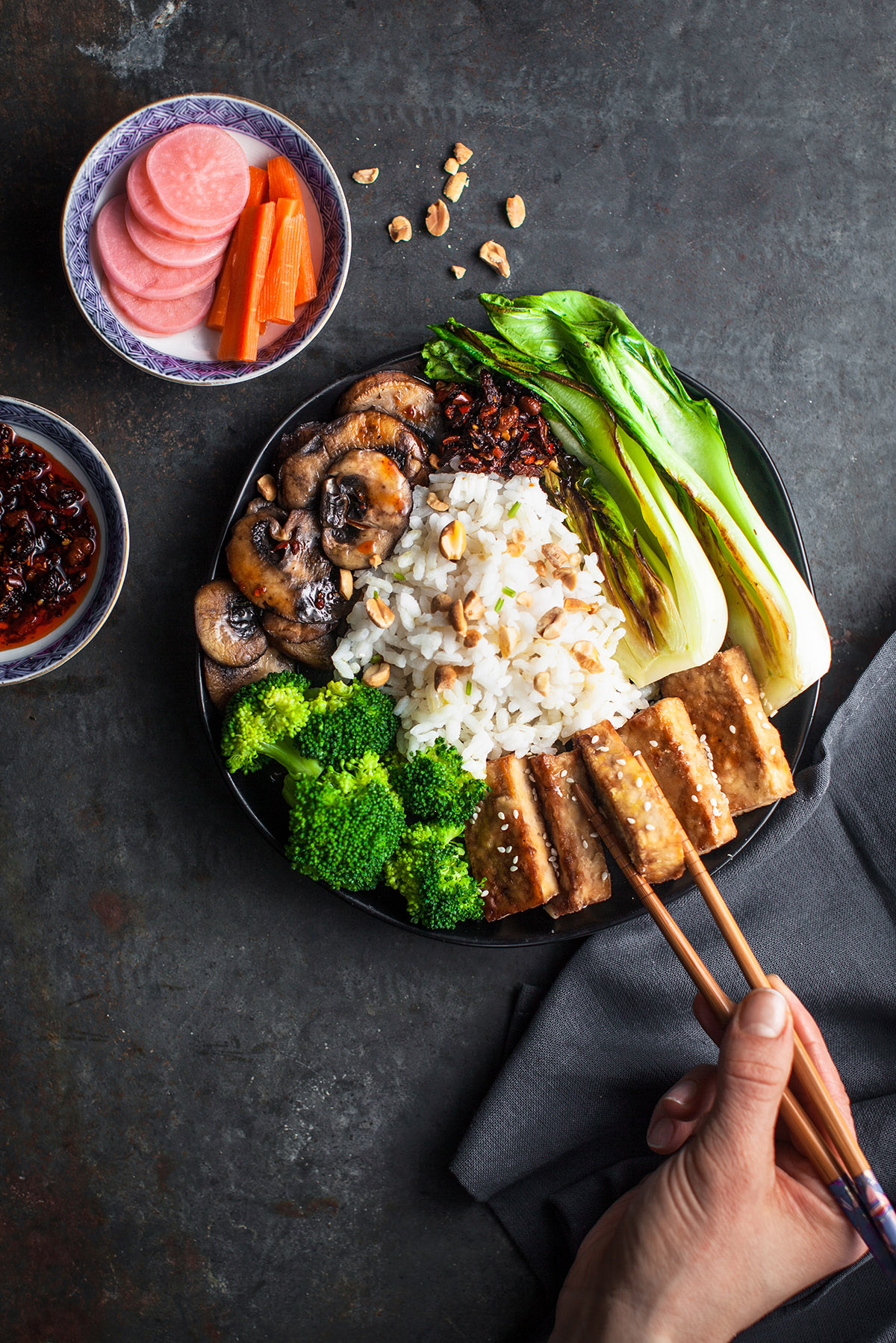 Korean Risotto Bowl with Crispy Tofu
