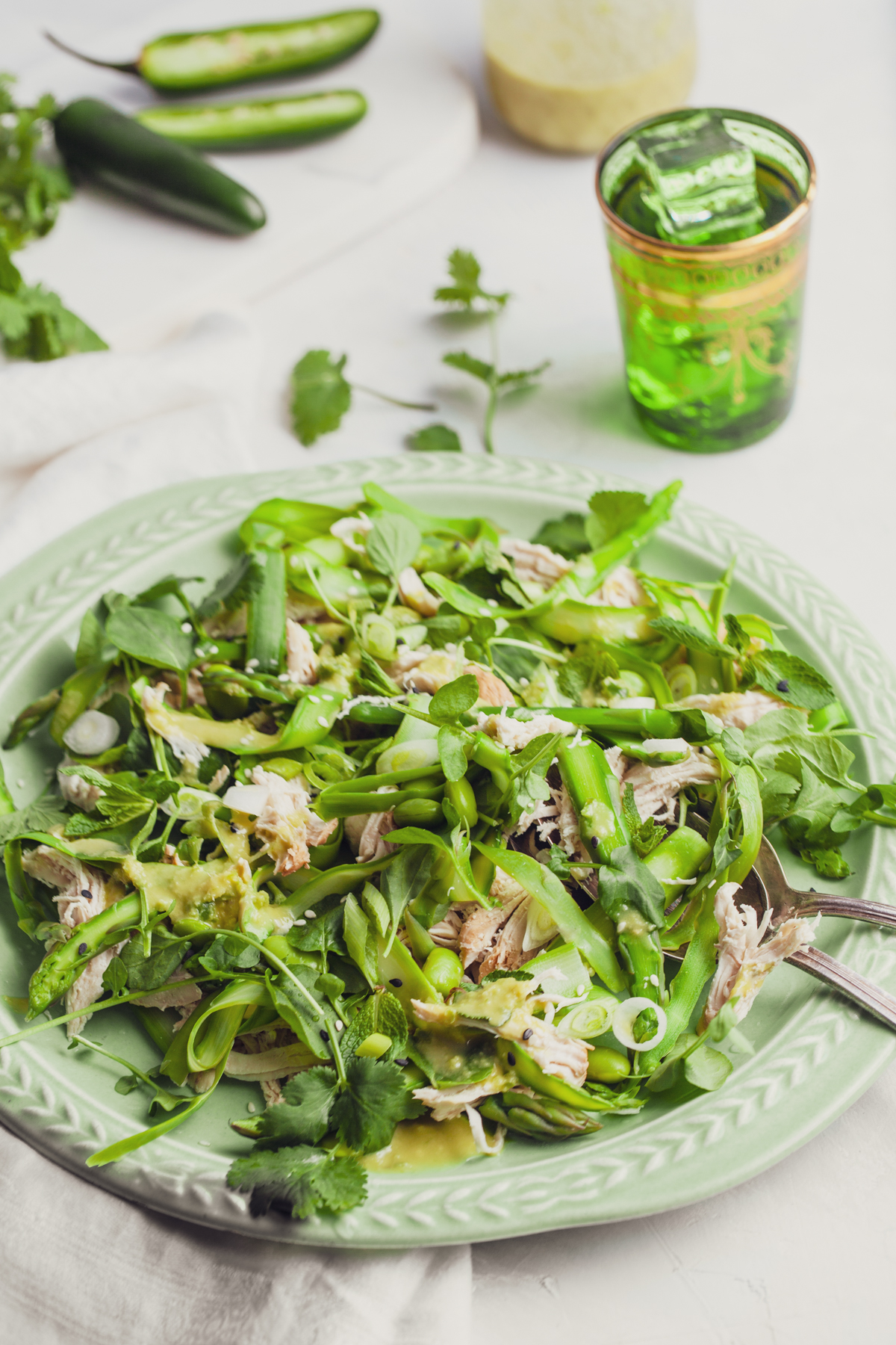 Asian Asparagus and Edamame Salad with Shredded Chicken