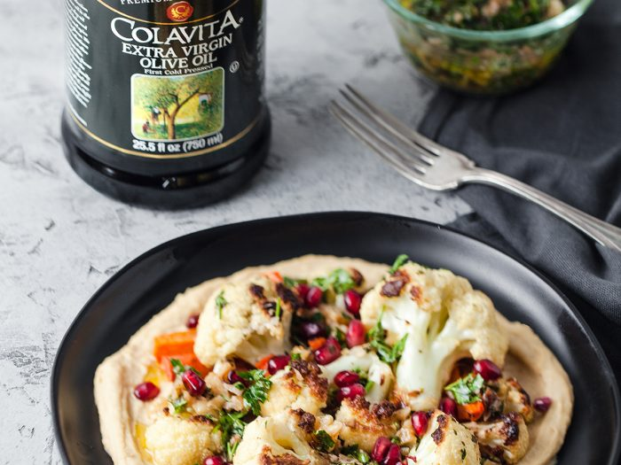 Roasted Cauliflower with White Bean Hummus and Walnut Salsa