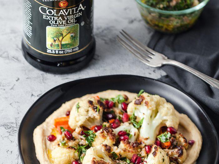 Roasted Cauliflower with White Bean Hummus and Walnut Salsa