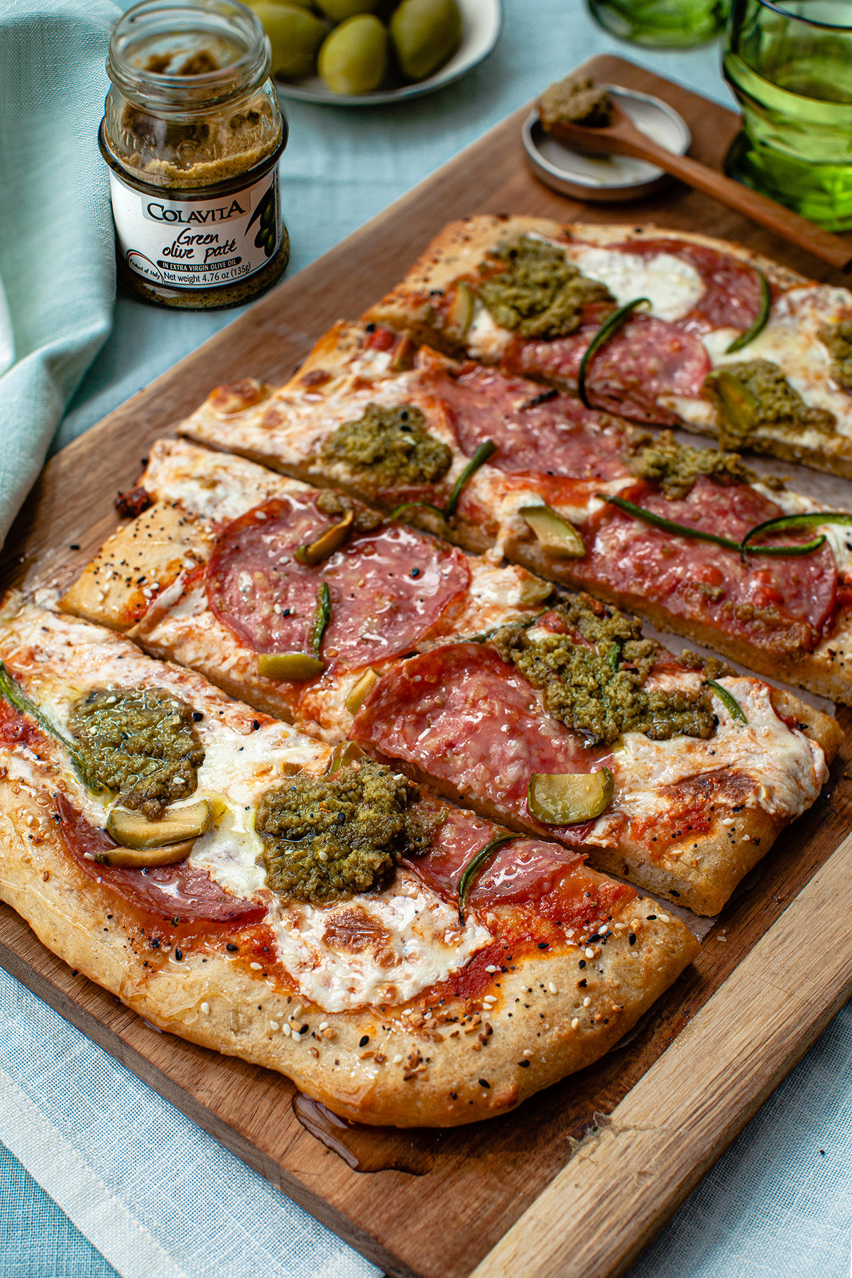 Sweet and Spicy Green Olive Pizza