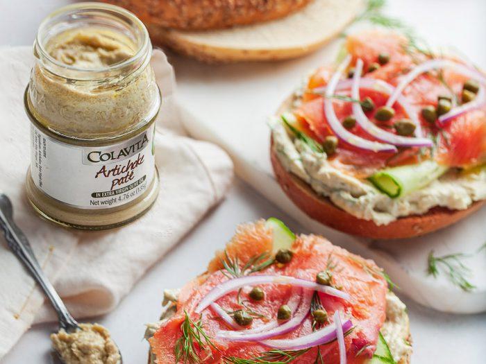 Smoked Salmon Bagel Sandwich with Artichoke Pate Spread