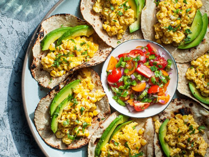 Scrambled Egg and Roasted Corn Breakfast Tacos