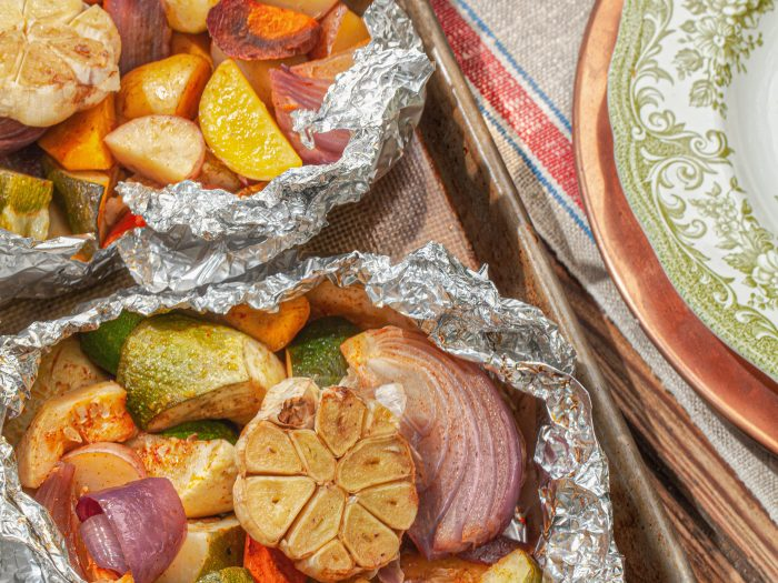 grilled veggies in foil packets